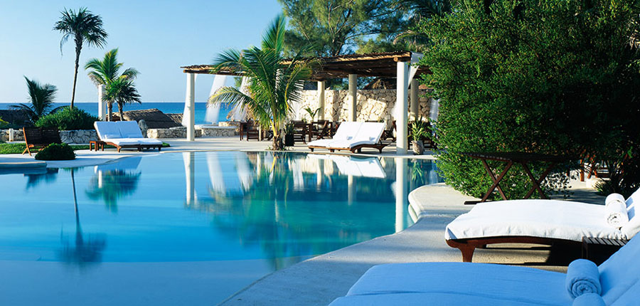 Hotel renovations at Viceroy Riviera Maya by The Kor Group include a plunge pool, outdoor shower, and a world-class spa.
