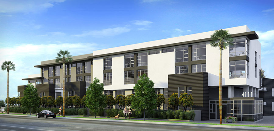 Sunset Silver Lake at Sunset Junction, a 43-unit condo project in Los Angeles by real estate developer The Kor Group.