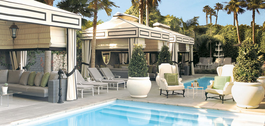 The 2000 hotel renovation of Viceroy Santa Monica by The Kor Group included two outdoor plunge pools, fitness center, and library.